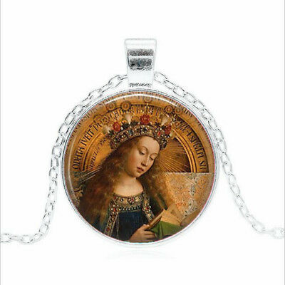 BLESSED VIRGIN MARY Tibet silver Glass dome Necklace chain Pendant Wholesale