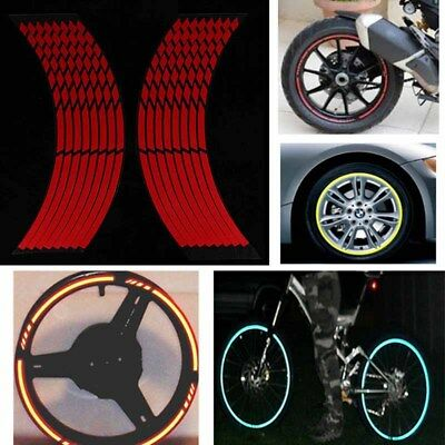 16 Strips Reflective Motorcycle Car Rim Stripe Wheel Decal Tape Sticker Red`