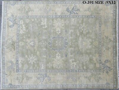 India Hand Knotted 9x12 270x365 Oushak Persian Oriental Wool Carpet Rug RUGS EDH
