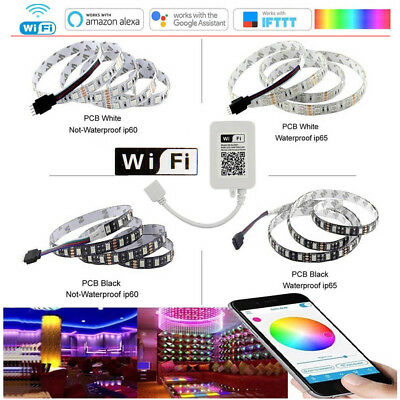 1-10m 5050 RGB 60LEDs/M LED Strip Light Flexible+Wireless WIFI Remote/12V Power