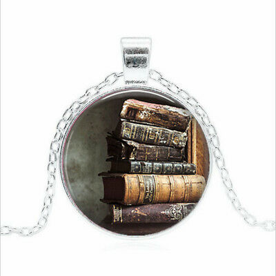 Stack of Antique Books Tibet silver Glass dome Necklace chain Pendant Wholesale