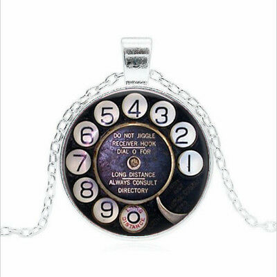 Telephone Dial Tibet silver Glass dome Necklace chain Pendant Wholesale