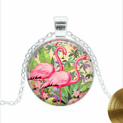 PINK FLAMINGOES Tibet silver Glass dome Necklace chain Pendant Wholesale