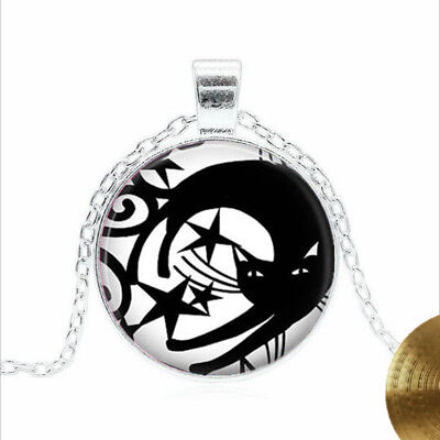 Black Cat with Stars Tibet silver Glass dome Necklace chain Pendant Wholesale