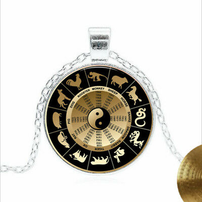 Chinese horoscope Tibet silver Glass dome Necklace chain Pendant wholesale