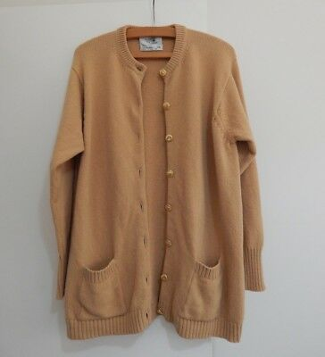 Genuine Vintage Camel 100% LAMBSWOOL Long Length Cardigan Buttons 14?