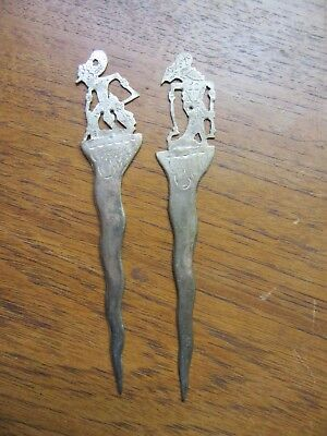 2 X Vintage Siam Thailand Flat Silver? Letter Openers – Ornate Goddess Figural –