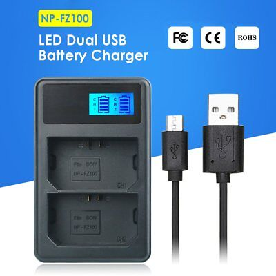Dual LCD Fast Quick Charger for SONY NP FZ100 Battery A9 A7RM3 A7R III
