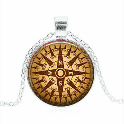 Steampunk Compass Tibet silver Glass dome Necklace chain Pendant Wholesale
