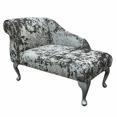 "41"" Small Chaise Longue Chair in a Lustro Mercury Fabric - FREE UK DEL"