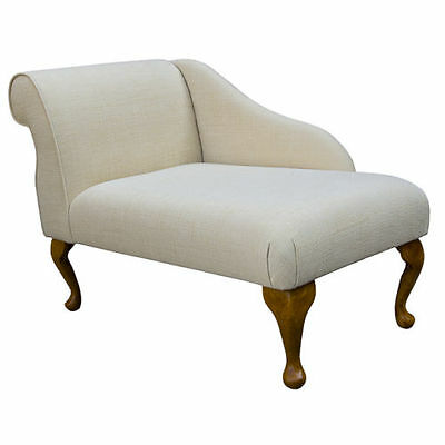 "41"" Small Chaise Longue Chair in a Slub Natural Kenton Fabric   - FREE UK DEL"