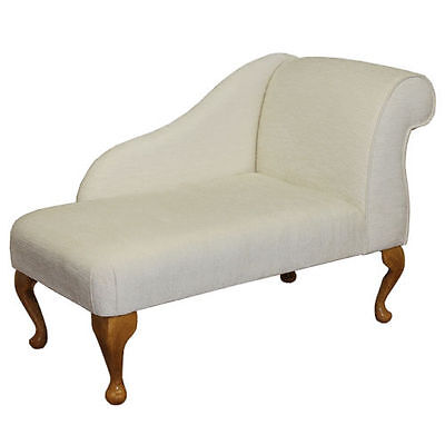 """41"""" Small Chaise Longue Chair in Oyster Chenille Fabric"""
