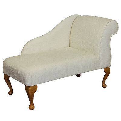 "41"" Small Chaise Longue Chair in a Oyster Chenille - FREE UK DEL"