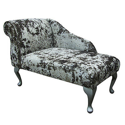 "41""Small Chaise Longue Chair in a Lustro Flint Fabric  - FREE UK DEL"