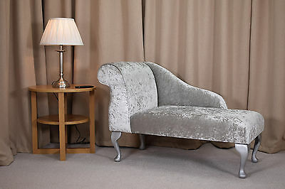 """41"""" Chaise Longue in a Bling Silver Fabric + FREE UK MAINLAND DELIVERY!"""