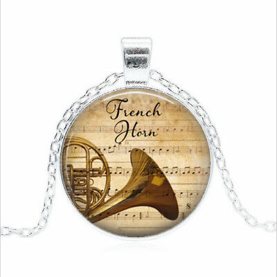 French Horn & Music Tibet silver Glass dome Necklace chain Pendant Wholesale