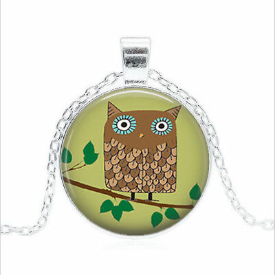 Retro Brown Owl Tibet silver Glass dome Necklace chain Pendant Wholesale