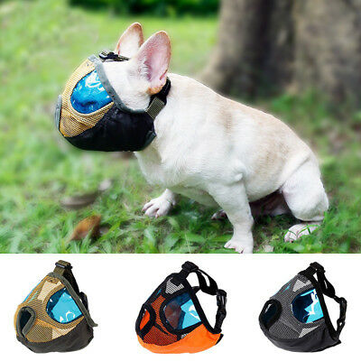 LK_ EG_ Short Snout Dog Muzzle Adjustable Bulldog Muzzle Breathable Mesh Pug M