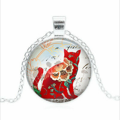 Red Calico Cat Tibet silver Glass dome Necklace chain Pendant Wholesale
