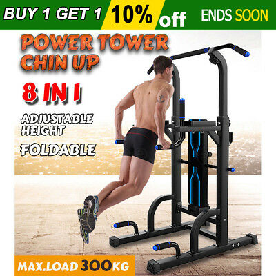 Knee Raise Power Tower Chin Up Dip Pull Up Multi Station Weight Bench Home Gym