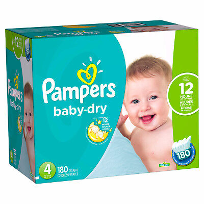 Pampers Baby Dry Diapers Size 4, 180 Count FREE SHIPPING