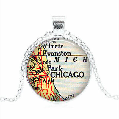 Chicago map Tibet silver Glass dome Necklace chain Pendant Wholesale