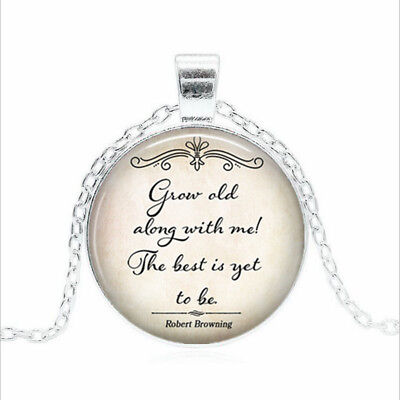 Grow old along with me Tibet silver Glass dome Necklace chain Pendant Wholesale