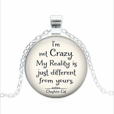 I'm not Crazy Cheshire Tibet silver Glass dome Necklace chain Pendant Wholesale