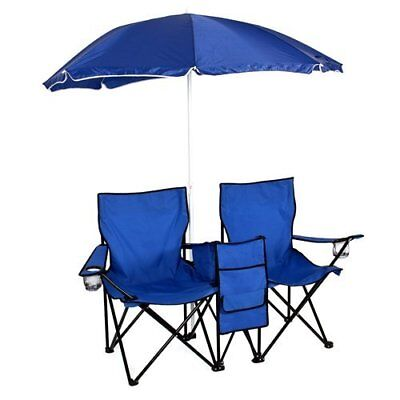 Picnic Double Folding Chair W Umbrella Table Cooler Fold Up Beach Camping