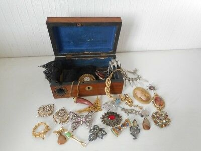 COLLECTION of VINTAGE COSTUME JEWELLERY JOB LOT & ANTIQUE WOODEN BOX