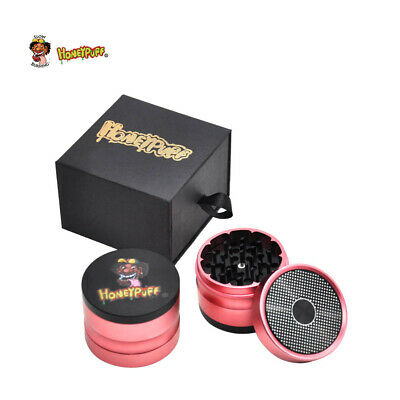 1 X HONEYPUFF 4 Layers Tobacco Herbal Grinder Aluminum Cursher&Gift Box-Red