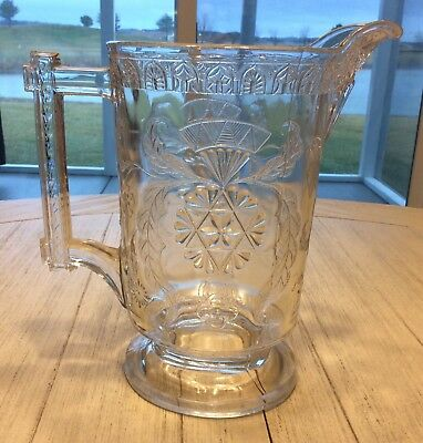Antique Elegant EAPG, McKEE & Bros, SCROLL WITH FLOWERS Lemonade Pitcher c1870