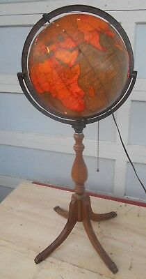 Vintage Crams Unrivaled Illuminated Globe  Nice Wood+Brass Display  35 Inch Tall