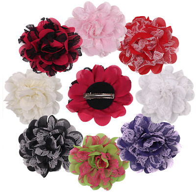 NEW Beautiful Large Fabric & Lace Flower Hair Clip, 8 Colours, UK Seller