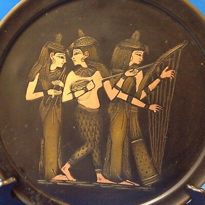 Vintage Wall Plaque - Egyptian Musicians - 25.5cm  Round  Alloy Metals Tray
