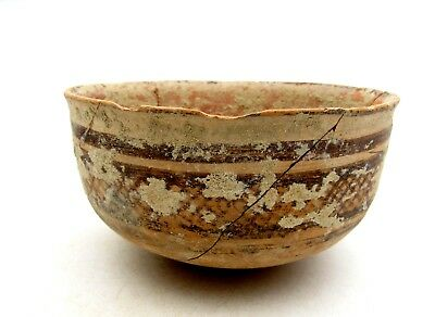 Indus Valley Terracotta Bowl W/ Geo - Ancient Rare Artifact Lovely - L263