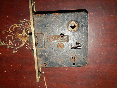 Antique cast iron and brass Sargent interior mortise lock may need work inside