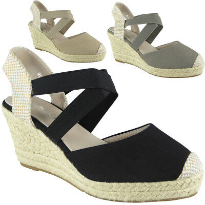 3e1ad4ac7d93 WOMENS LADIES ELASTIC Strap Hessian Espadrilles Platform Shoes Wedge Sandal  Size - EUR 16