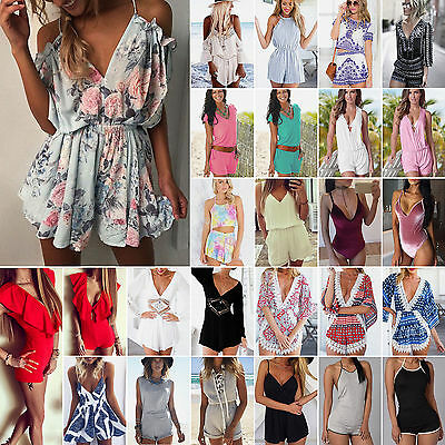 NEW UK  Holiday Mini Playsuit Party Jumpsuit Summer Beach Sundress Romper Dress