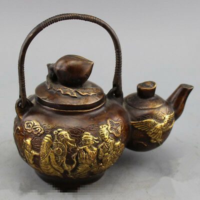 exquisite Antique bronze ware collection brass and feng shui pot of gourd teapot