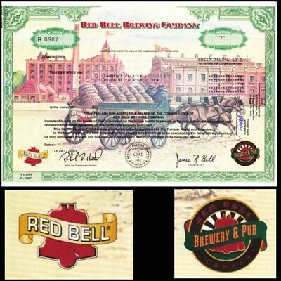 Red Bell Brewing Company PA 2001 Stock Certificate
