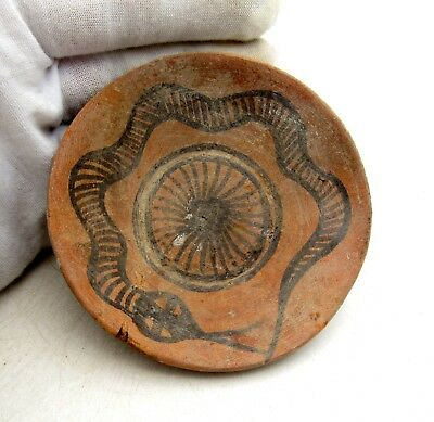 Ancient Indus Valley Terracotta Bowl W/ Snake - Rare Artifact Lovely - L291
