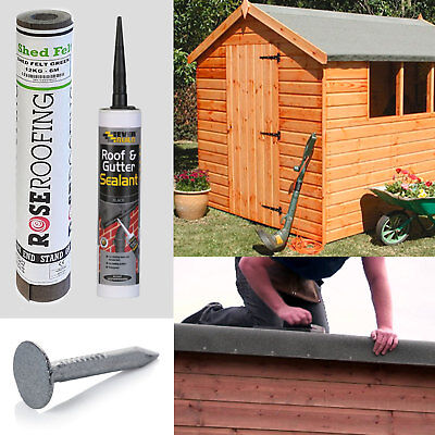 10m Green Shed Felt Roofing Kit Includes Felt Nails and Everbuild Adhesive