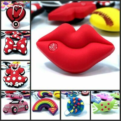 Red lips/Bowknot/Rainbow Shoe Charms Accessories Fit cor croc jibz Party Home De
