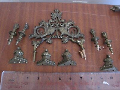 Job Lot Antique Verge Fusee Bracket Clock Spare 4 Set Brass Feet Finial & Bits