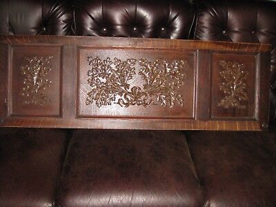 "Antique Piano Door Piano Wood Salvage 54"" x 17 1/2"" Raised Design Oak Leaves"
