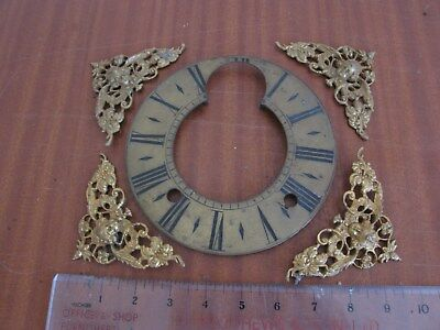 Antique Fusee Bracket Clock or Longcase Spare Brass Spandrells & Brass Dial
