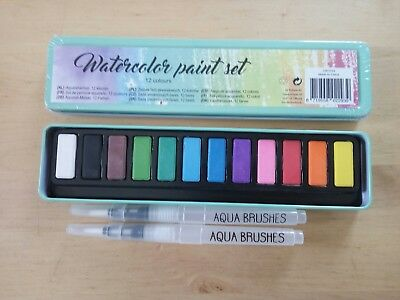 Aquarell Set - Malset - Aquarellfarben - 12 Farben - Aqua Brushes - Pinsel - Neu