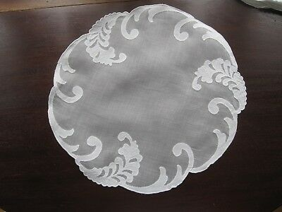 Gorgeous Set 16 Vintage Madeira Embroidered White Organdy Round Placemats Euc