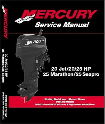 Mercury 20 Jet - 20/25 HP 25 Marathon - Seapro Outboard Service Repair Manual CD